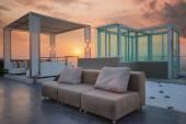Relax coner on condominium roof top garden — Stock Photo