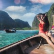 Asian lady relax on long tail boat at maya beach — Stock Photo #70006833