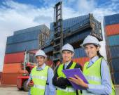 Team of young logistic business people — Stock Photo