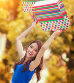 Asian lady enjoy shopping — Stockfoto