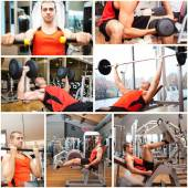 Man working out in fitness club — Foto Stock