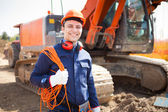 Worker in construction site — Stock Photo
