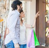 Para robi zakupy — Zdjęcie stockowe