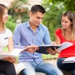 Smiling students studying in park — Stock Photo #54326071