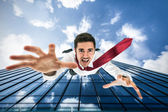 Man falling down from building — Stock Photo