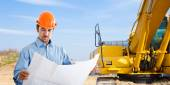 Architect in construction site — Foto Stock
