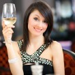 Woman tasting wine in restaurant — Stock Photo #54378719