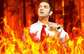 Businessman in flames — Stock Photo