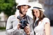 Toeristen nemen van foto 's — Stockfoto