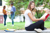 Student reading notebook — Stock Photo
