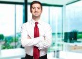 Handsome businessman portrait in his office — Foto de Stock