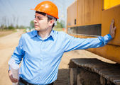 Architect in construction site — Stock Photo