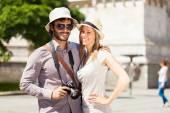 Tourists having fun — Stock Photo