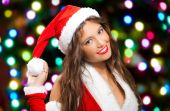 Woman in Christmas costume smiling — Stock Photo