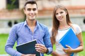 Students Smiling in park — Stock Photo
