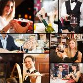 Collage of people in restaurants — Stock Photo