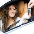 Woman receiving keys of car — Stock Photo #59864459