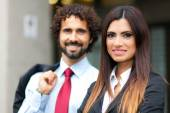 Two smiling business persons — Stock Photo