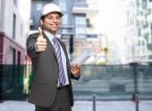 Architect in a construction site — Stock Photo
