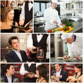 Chefs, waiters and customers in restaurant — 图库照片