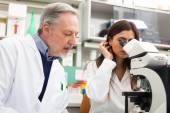 Scientists at work in laboratory — Stockfoto