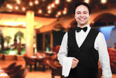 Happy professional waiter — Stock Photo