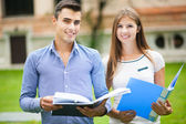 Couple of students outdoor — Stock Photo