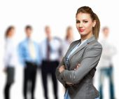 Woman in front of group of people — Stock Photo