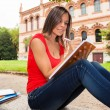 Woman studying outdoors — Stock Photo #63969403