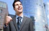 Businessman obtaining promotion — Stock Photo