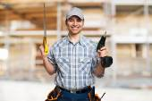 Handyman with in construction site — Stock Photo