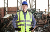 Man working in landfill — Stock Photo