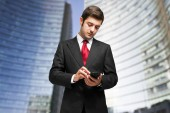 Man using mobile phone — Stock Photo