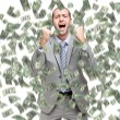 Happy man enjoying rain of money — Stock Photo #70777607