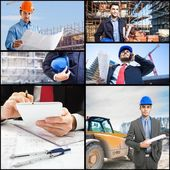 Architects and workers on a construction site — Stock Photo