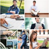 People using their digital tablet — Stock Photo