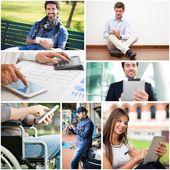 Pessoas usando seu tablet digital — Fotografia Stock