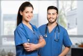 Two smiling medical workers — Stock Photo