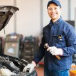 Mechanic holding a wrench — Stock Photo #76739041