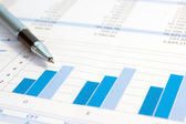 Pen on business report — Stock Photo