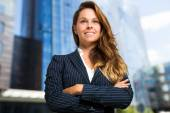 Smiling business woman outdoors — Stock Photo