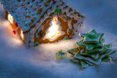 Marzipan gift under the gingerbread Christmas tree — Stock Photo