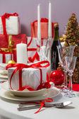 De gift van kerstmis op tafel — Stockfoto
