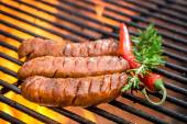 Hot sausage on the grill with fire — Stock Photo