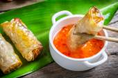 Fried spring rolls serves with sweet and sour sauce — Stock Photo