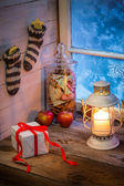 Presents and gingerbread cookies for Christmas — Stok fotoğraf