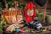 Forester lodge full of equipment for hunting — Stock Photo