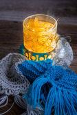 Glass full of linden warming tea — Stock Photo