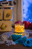 Warming tea in the winter evening — Stock Photo