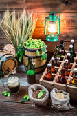 Cellar full of ingredients for homemade beer — Stock Photo